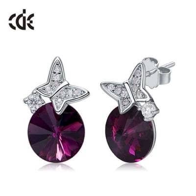 Серьги Crystal and butterfly